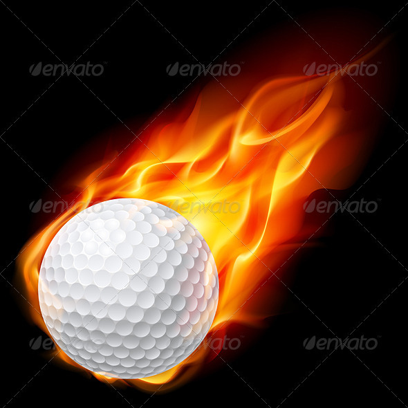 Golf ball on fire - Characters Vectors