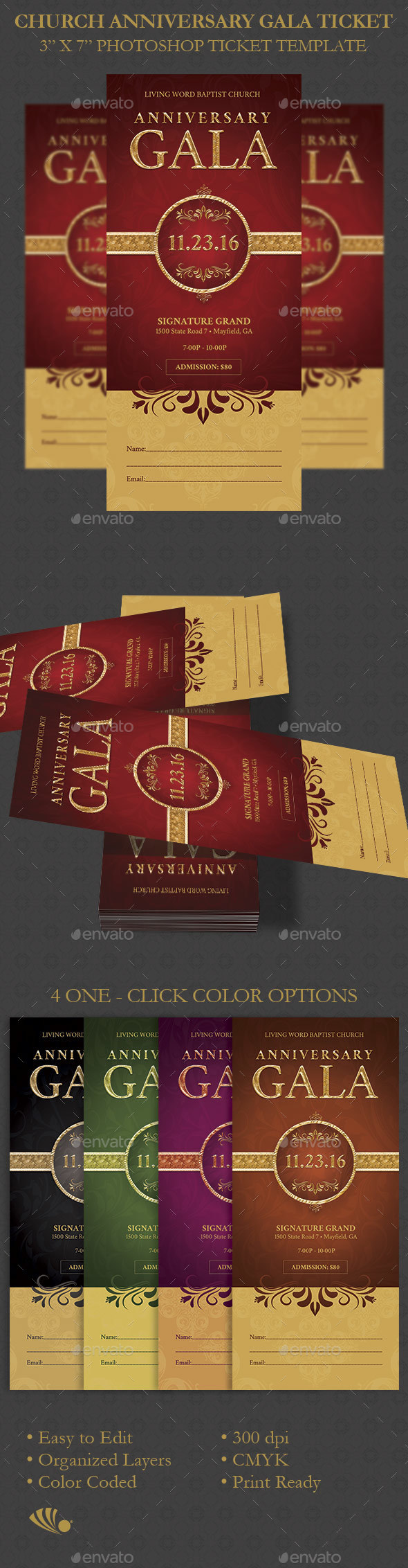 Church Anniversary Gala Ticket - Miscellaneous Print Templates
