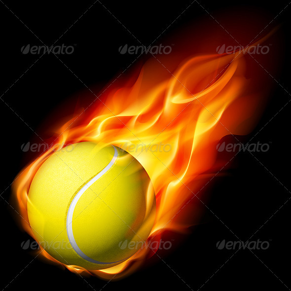 Flaming Tennis Ball - Characters Vectors