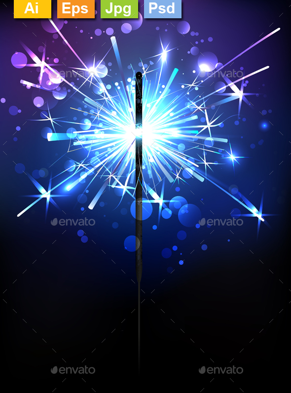Blue Sparkler - Christmas Seasons/Holidays