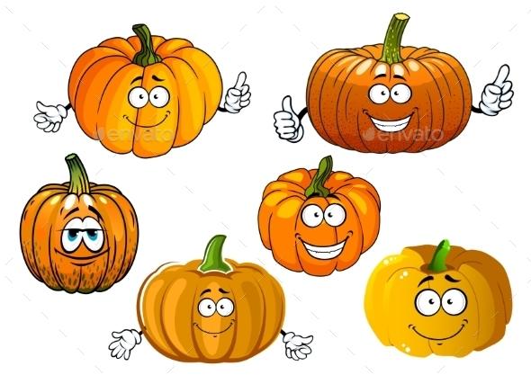 Cartoon Isolated Orange Pumpkin Vegetables - Food Objects