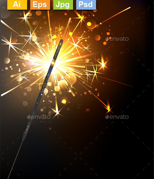Yellow Sparkler - New Year Seasons/Holidays