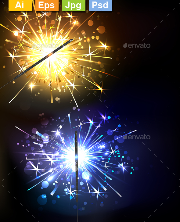 Yellow and Blue Sparkler - New Year Seasons/Holidays