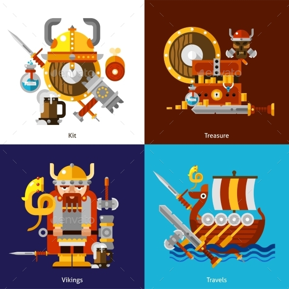 Viking Army Icons Set - People Characters