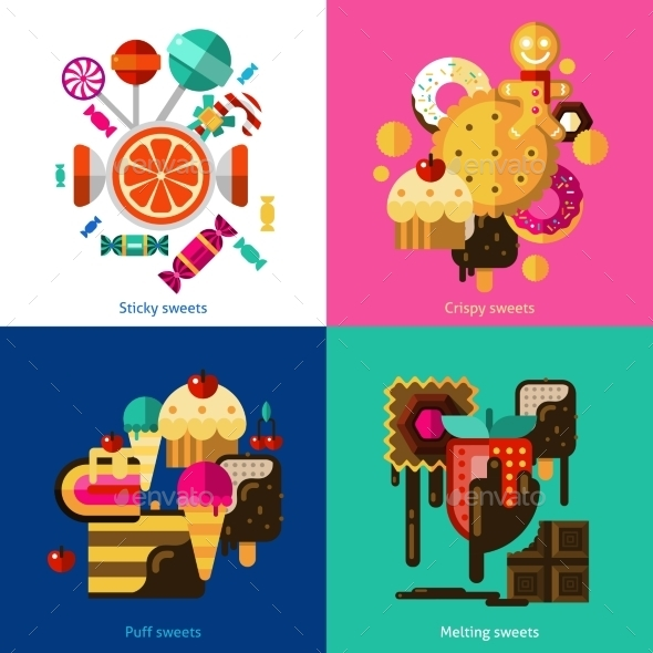Sweets And Candies Icons Set - Food Objects