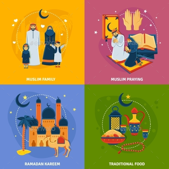 Islam Icons Set - Religion Conceptual
