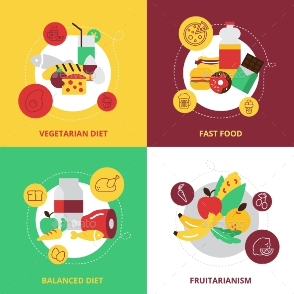 Food And Drinks Design Icons Set - Food Objects