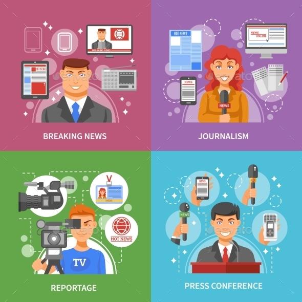 Press Concept Icons Set - Communications Technology