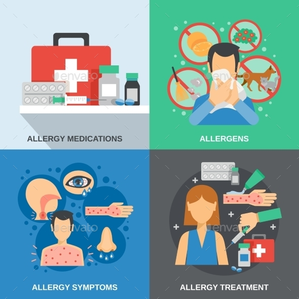 Allergy Flat Set - Health/Medicine Conceptual