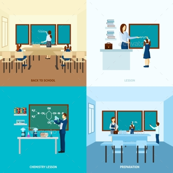 School Education Concept  Set - People Characters
