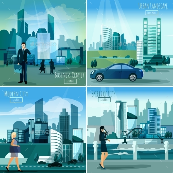 Modern Cityscapes 4 Flat Icons Square  - Miscellaneous Conceptual
