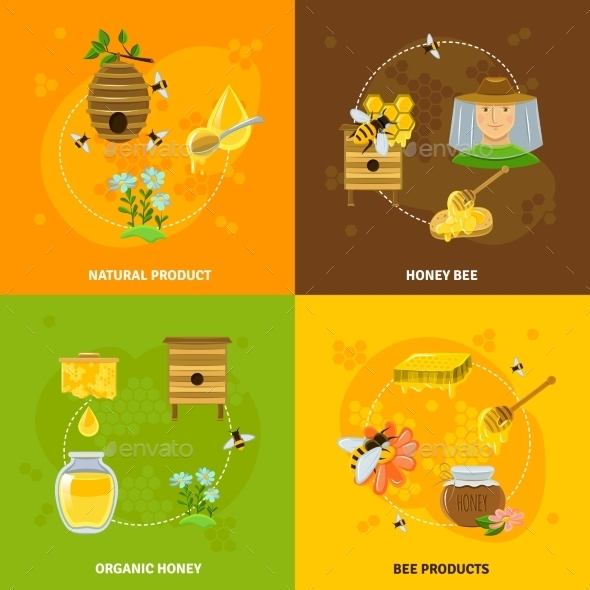 Honey And Bees Icons Set - Food Objects