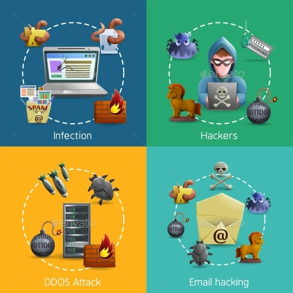Hacker Cyber Attack Icons Concept - Computers Technology