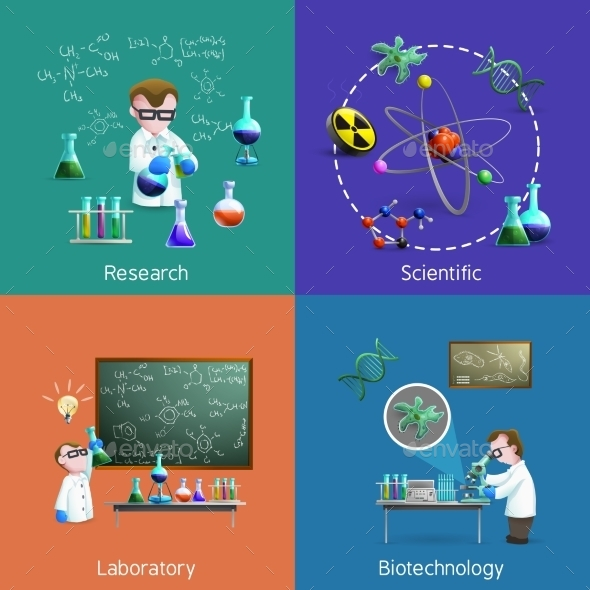 Scientists  In Lab Icons Set  - Decorative Symbols Decorative