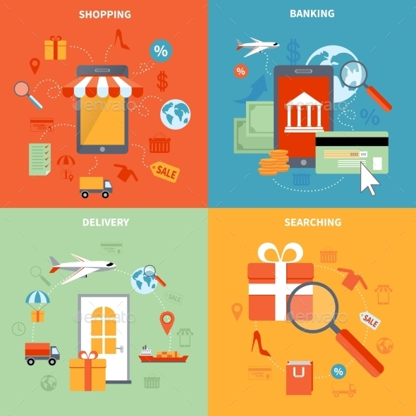 M-commerce And Shopping Icons Set - Commercial / Shopping Conceptual