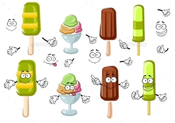 Cartoon Ice Cream Bar, Sundae And Popsicles  - Food Objects