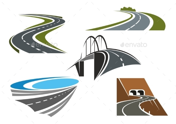 Road Bridge, Rural Highways And Road Tunnels - Buildings Objects