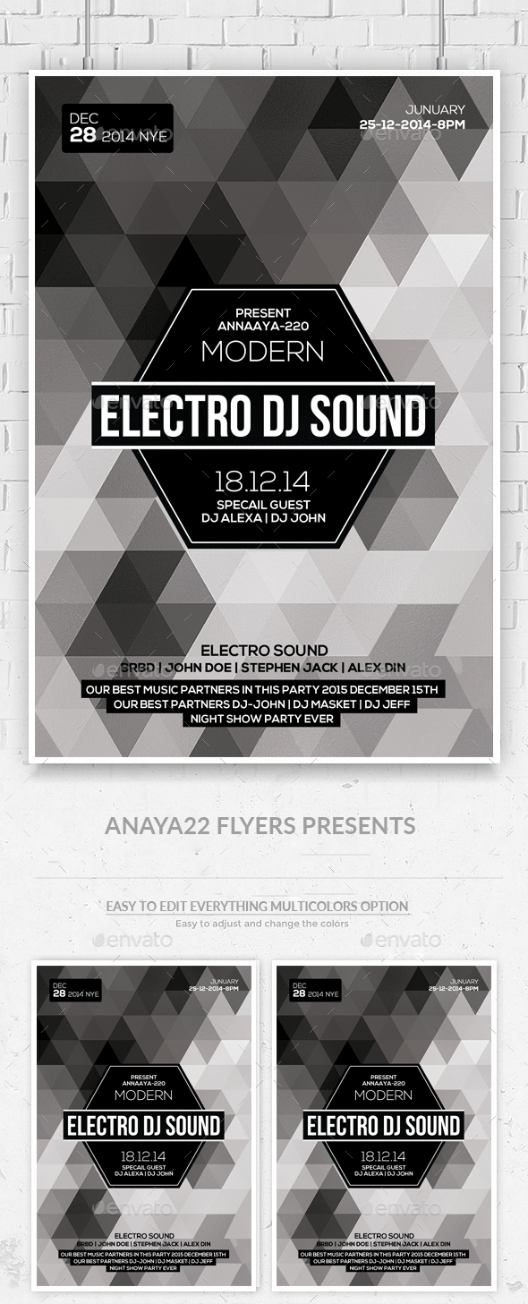 Minimal Geometric Flyer Psd - Clubs & Parties Events