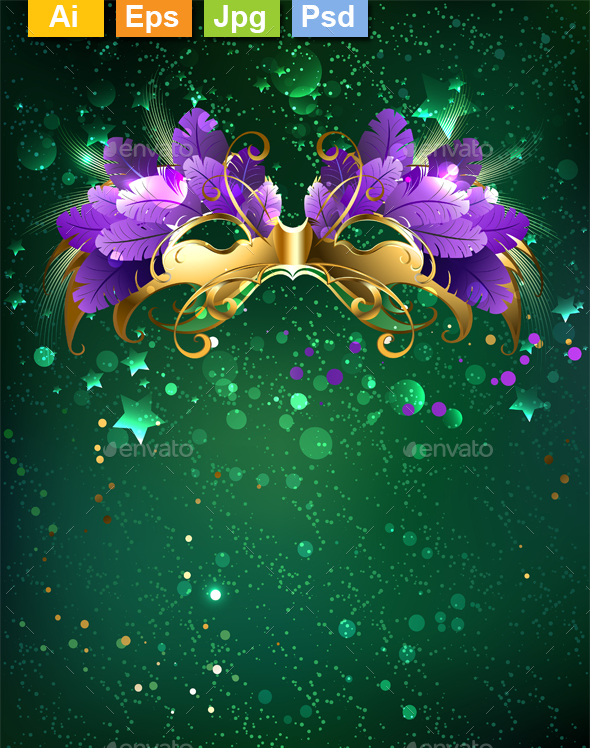Mask on a Green Background - Miscellaneous Seasons/Holidays