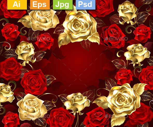 Red and Gold Roses - Flourishes / Swirls Decorative