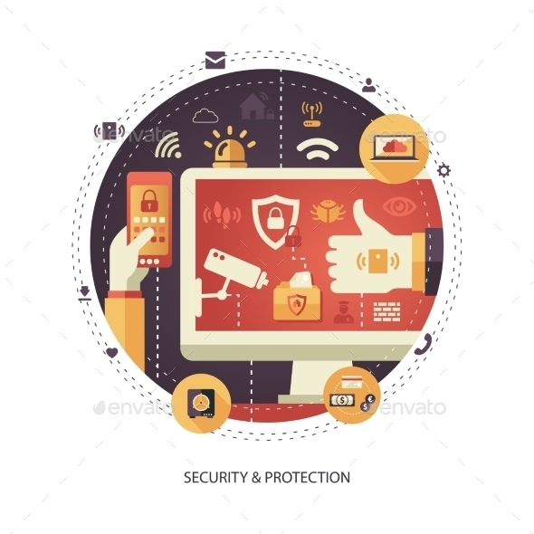 Business Security and Protection Illustration - Backgrounds Business