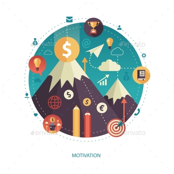 Motivation - Flat Design Business Illustration - Backgrounds Business