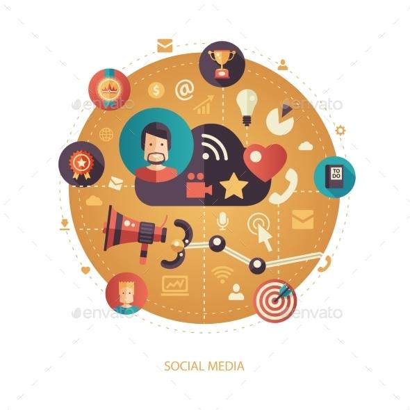 Social Media Flat Design Business Illustration - Backgrounds Business