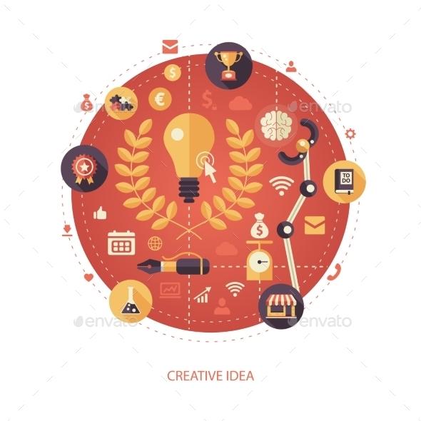 Crearive Idea Flat Design Business Illustration - Backgrounds Business