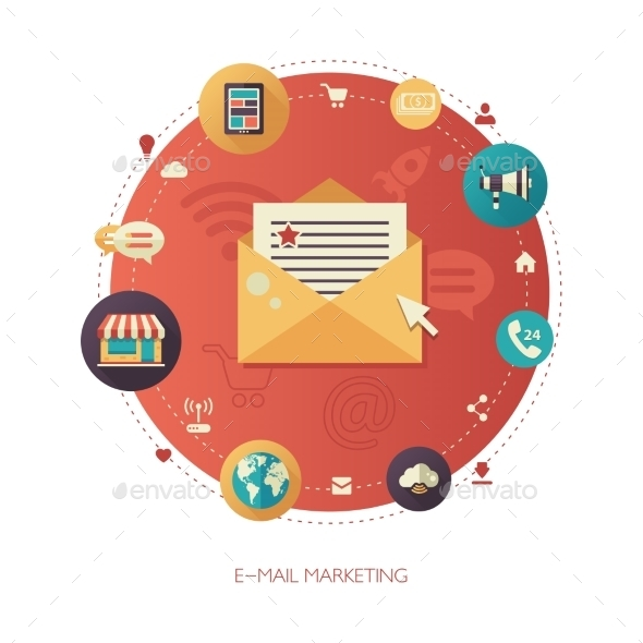 E-Marketing Flat Design Business Composition - Web Technology