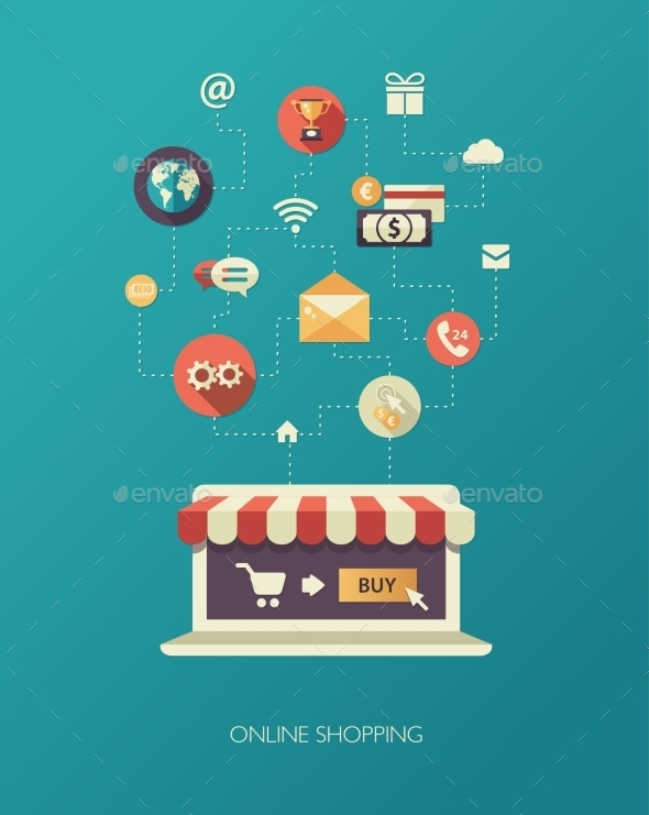 Online Store Flat Design Business Composition - Retail Commercial / Shopping
