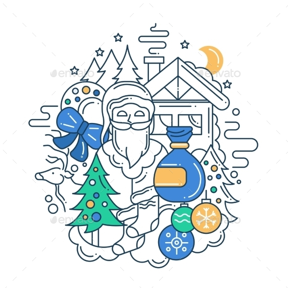 Christmas Line Flat Design Illustration - New Year Seasons/Holidays