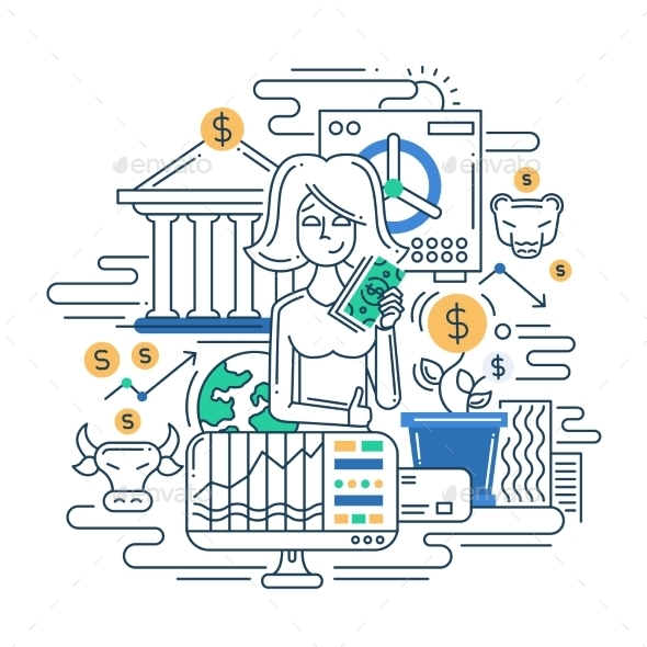 Money Management Line Flat Design Illustration - Concepts Business