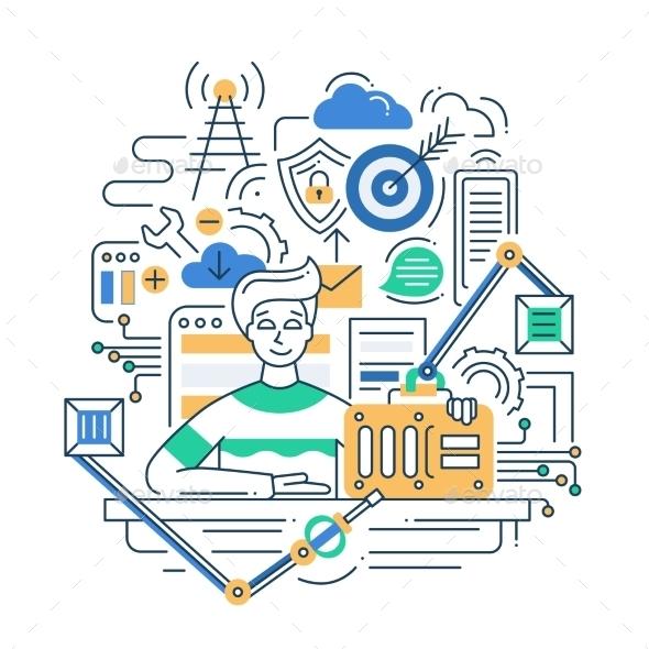 Problem Solution Line Flat Design Illustration - Web Technology