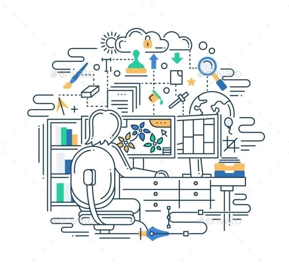Designer at Work Line Flat Design Illustration - Backgrounds Business