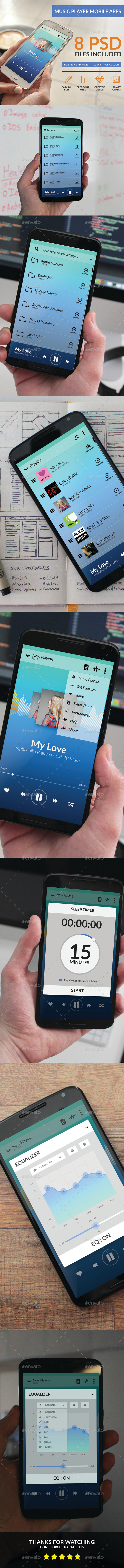 Music Player Mobile Apps - User Interfaces Web Elements