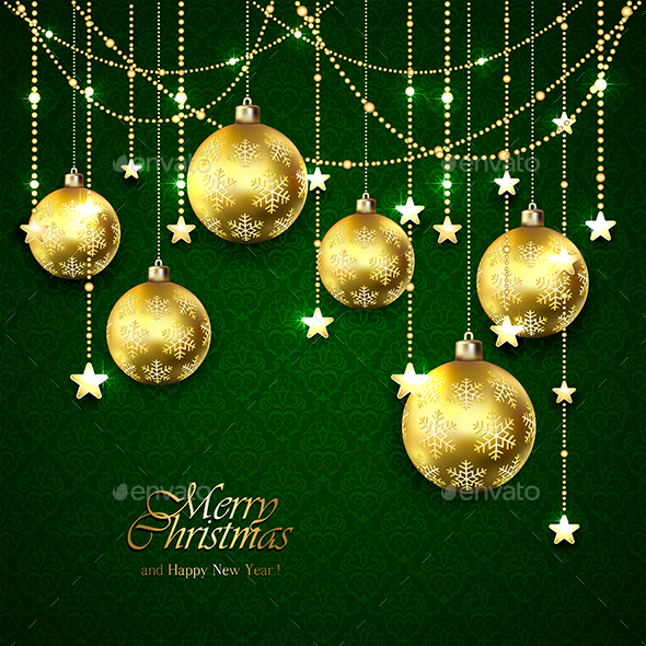 Golden Christmas Balls - Christmas Seasons/Holidays