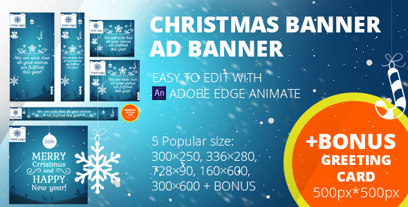 Get Christmas banners set + Greeting card 500px*500px