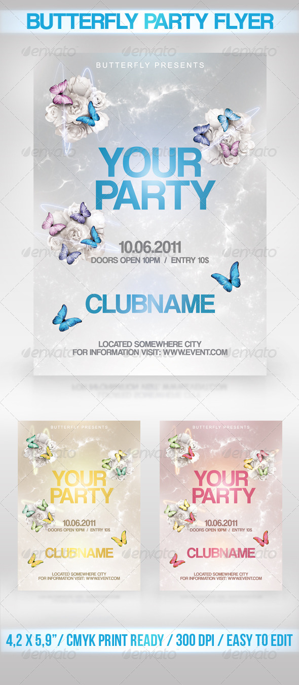 Butterfly Party Flyer - Clubs & Parties Events