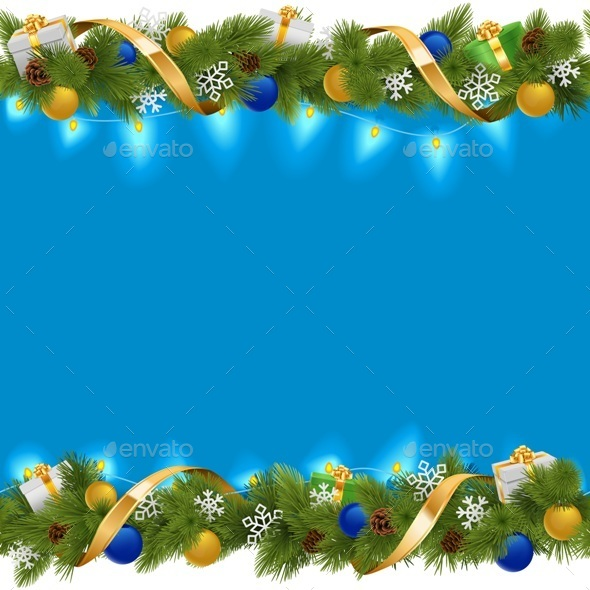Vector Blue Christmas Border with Garland - Christmas Seasons/Holidays