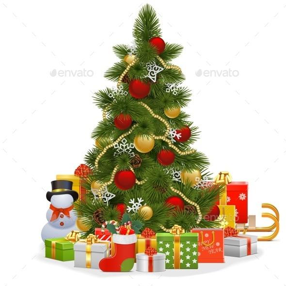 Vector Christmas Tree with Snowflakes - Christmas Seasons/Holidays