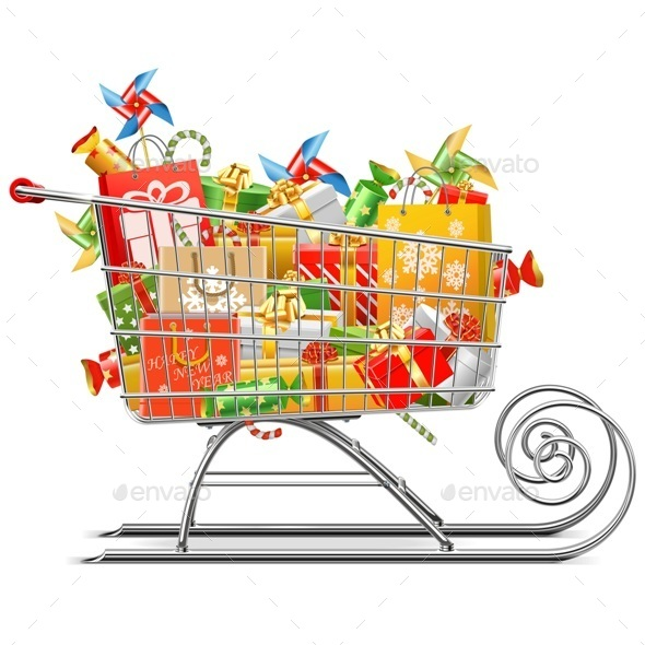 Vector Supermarket Sleigh with Gifts - Christmas Seasons/Holidays