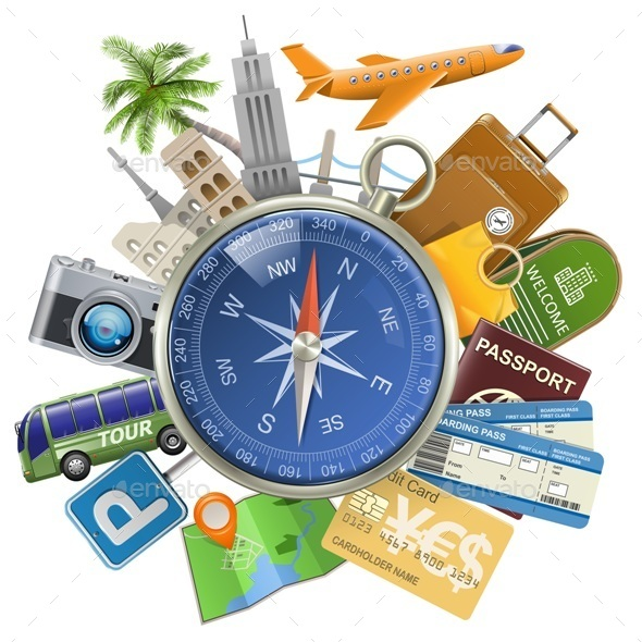 Vector Tourism Concept with Compass - Travel Conceptual