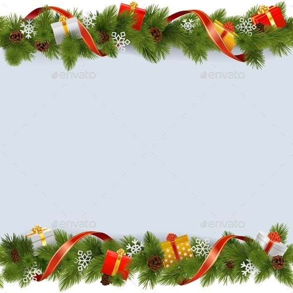 Vector Christmas Border with Gifts - Christmas Seasons/Holidays