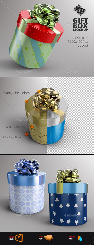 Round Gift Box Mockup - Product Mock-Ups Graphics
