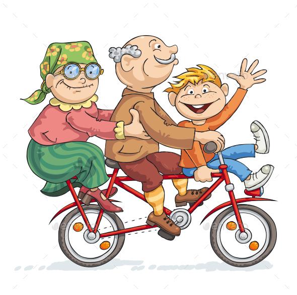 Fun Bike Ride - People Characters