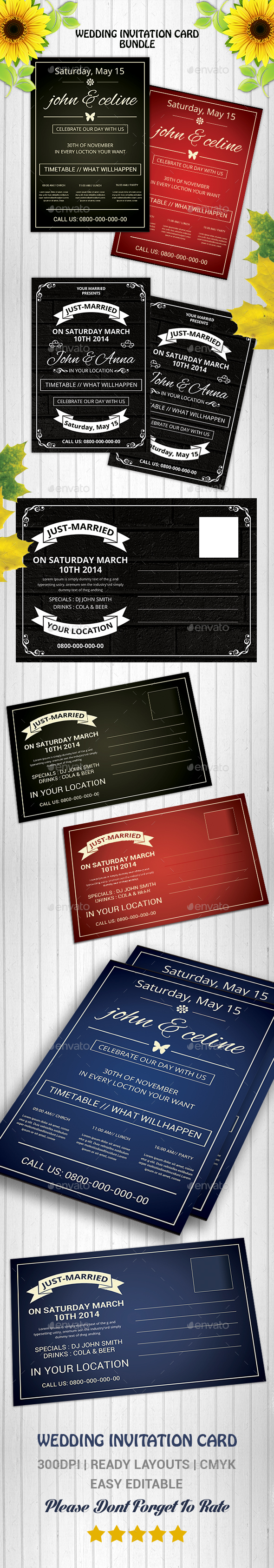 Wedding Invitation PostCards Bundle - Cards & Invites Print Templates