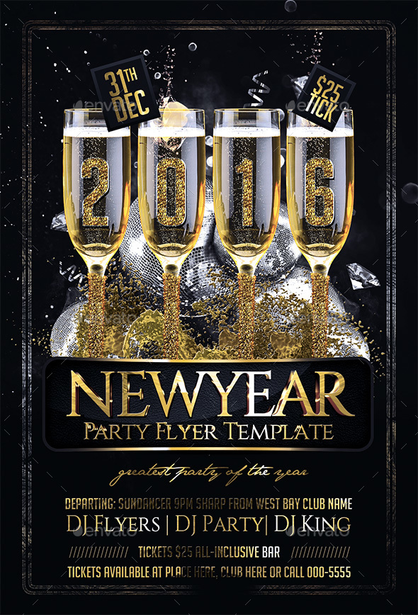 New Year Party Flyer By Flyersking  Graphicriver