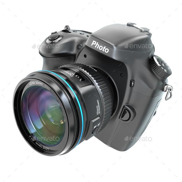 DSLR Digital photo camera isolted on white. - Stock Photo - Images