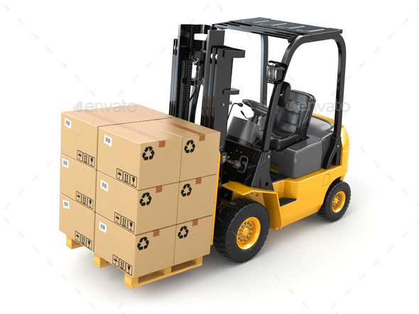Forklift truck with boxes on pallet. Cargo. - Stock Photo - Images