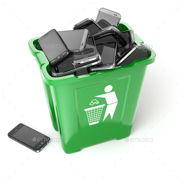 Mobile phones in garbage can isolated on white background. Utili - Stock Photo - Images